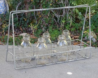 RARE Mid Century Milk Bottle Holder, 14 Slot School Milk Carrier, Half Pint Bottle Transporter, Industrial Metal Carrier