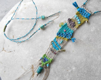Hand Woven Mini Tapestry Necklace - Linen Silk & Sterling Silver with Gems - turquoise green - freeform weaving - fiber art Necklace***