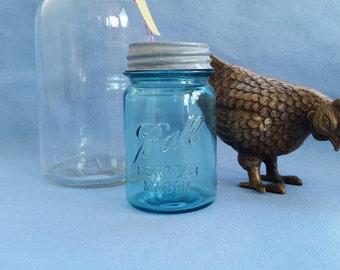Ball Blue Perfect Mason Pint Canning Jar #8 with Zinc Lid, Date Range 1923- 1933, Small Blue Vase, Rustic Wedding Decor, Farmhouse Style