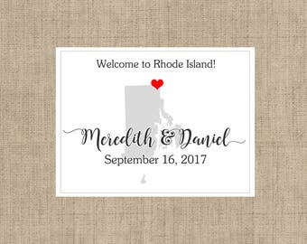 "4"" x 3""  Personalized Welcome Box Labels -  30 Wedding Welcome Bag Labels - Wedding Labels - Welcome Stickers - Box Stickers - Rhode Island"