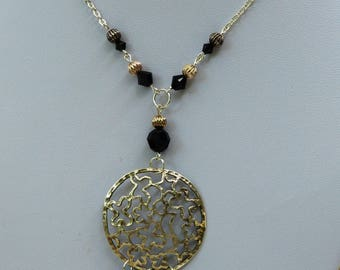 Pendant Necklace with black and silver Swarovski Crystal