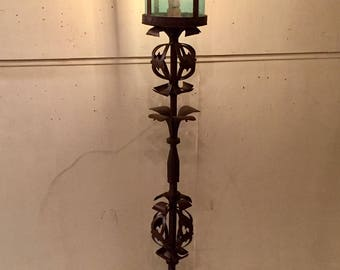 Hand Forged Iron Floor Lamp Blown Glass Aqua Shade French Wired