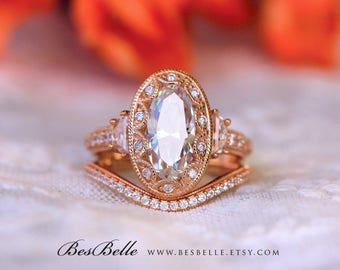 5.26 ct.tw Vintage Art Deco Bridal Set Ring-Oval Cut-Engagement Ring W/ Curve Wedding Ring-Rose Gold Plated-Sterling Silver [61988RG-2A]