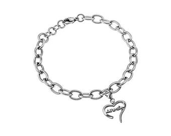 "Handwriting Heart Bracelet ""Serenity"""