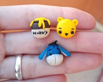 Winnie the Pooh Earrings Eeyore and Hunny Honey