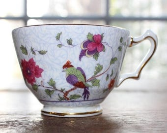 Vintage Crown Staffordshire Teacup Floral Bird Fine Bone China Made in England