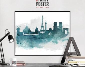 Paris, Paris art print, Paris wall art, Paris skyline, Paris poster watercolour, home decor, city prints, travel gift, iPrintPoster