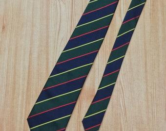 Men's Green Blue Red Gold Repp Stripe Silk Tie Lands' End Prep Trad USA