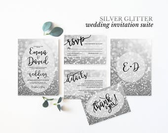 Silver Wedding Invitation Suite Printable Wedding Invitation Set Elegant Silver Glitter Wedding Invites Digital Wedding Invitation Suite
