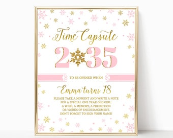 Winter ONEderland Time Capsule Girl First Birthday Winter Birthday Pink And Gold Birthday Decorations Time Capsule Sign PRINTABLE 8x10 5x7
