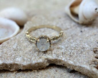 Halo Engagement Ring Wedding Ring Unique Engagement Ring Diamond Ring Moonstone Engagement Ring Pave Diamonds Solid Gold Vintage Engagement