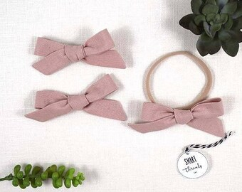 Bow Clip Pigtail Set or Headband | 'Rose' | pink | schoolgirl hair bows, baby, toddler girls