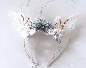 Gold, Silver & White Reindeer Antler Headband