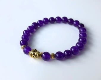 Natural Pearl Bracelet: Amethyst & Buddha