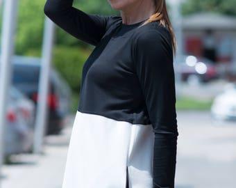 Black and White Cotton Jumpsuit, Cotton Plaid Union Suit, Loose Casual Drop Crotch Harem Pants by EUG FASHION - JP0361PM