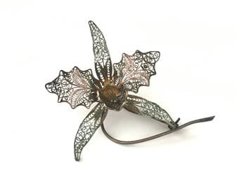 Antique 800 Silver and Filigree Flower Brooch