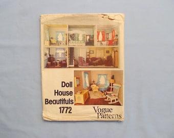 Vogue Craft Pattern #1772, Doll House Furniture, Bedroom, Nursery, Bathroom, All Rooms 1970s