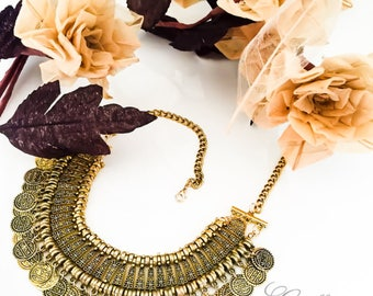 ZASHIAN I - Gold Boho Statement Necklace