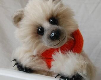 "Teddy bear, Archibald,11.4"",29 cm, OOAK, Collectible, stuffed animals, artist teddy bears, handmade, white bear, vintage, plush toy, little"