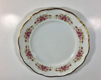 "Grace China Dinner Plate, Bavarian Plate, Vintage Grace China, Dresden Rose, Pattern Number  17315, West Germany 10"" Dinner Plate"