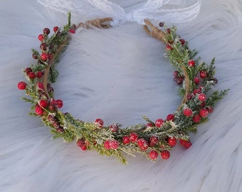 Frosted Berry Halo ~ Baby Headbands ~ Photo Prop ~ Crown ~ Infant ~ Toddler ~ Girls ~ Ladies ~ One Size ~ Tieback ~ Lace ~ Fall ~Christmas