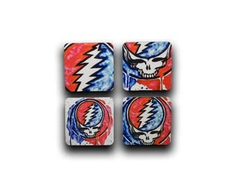 Grateful Dead Coasters, Coasters, Grateful Dead Gift, Steal Your Face, Father's Day Gift, Man Cave Decor, Grateful Dead Decor, Deadhead Gift