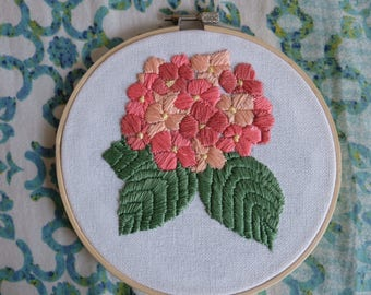 Hand Embroidered Flowers on a 6 Inch Hoop