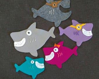 Baby, Mama, Daddy, Grandma, and Grandpa Shark Felt Board Story// Flannel Board Story Set // Preschool // Teacher Story // Family