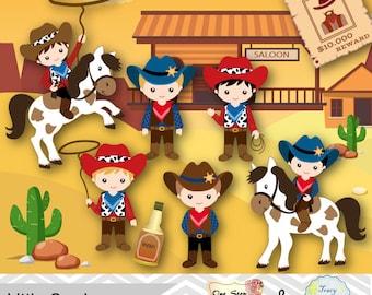 Cowboy Digital Clip Art, Cowboys Digital Clipart, Cute Little Boy Cowboy Digital Clipart, Wild West Clip Art, Wild West Cowboys Clipart 0185