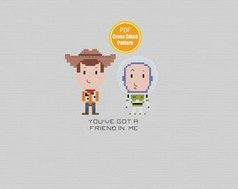 Toy Story Cross Stitch Pattern - PDF Instant Download - Woody Buzz - Disney Cross stitch