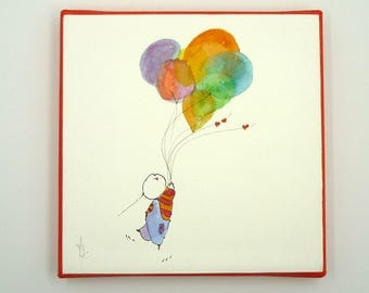 Love Card,Watercolour , Multicolored Canvas, Aquarelle,Multicolored Hearts,Heart shaped Balloon