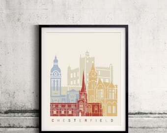 Chesterfield skyline poster - Fine Art Print Landmarks skyline Poster Gift Illustration Artistic Colorful Landmarks - SKU 2436