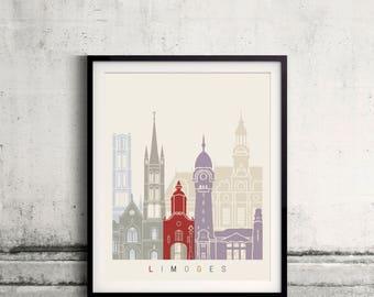 Limoges skyline poster - Fine Art Print Landmarks skyline Poster Gift Illustration Artistic Colorful Landmarks - SKU 2492