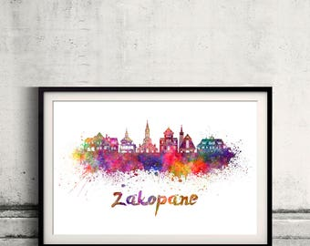 Zakopane skyline in watercolor over white background with name of city - Poster Wall art Illustration Print - SKU 2808