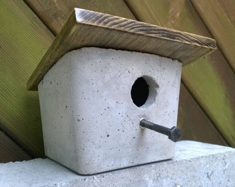 Concrete Bird House - Front Slant Wood Roof With  Bolted Perch | Garden Decor | Outdoor Decor | Boxy, Square, Cube, Cubed, Geometric