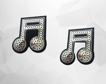 Music Note Sequin Iron on Patch (M2) - Sequin Musical Notes, Glitter Applique Iron on Patch - Size 5.5x5.8 cm