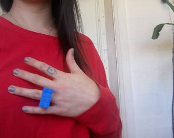 Blue lego brick ring, custom, hand altered, ring, unique, one of a kind, fun, gift, plastic, kids toy, repurposed, original, lego