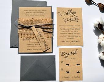 Rustic Wedding Invitation, Kraft Wedding Invitation, Country Wedding, Grey and Tan, Burlap wedding Invitations, Natural wedding s031