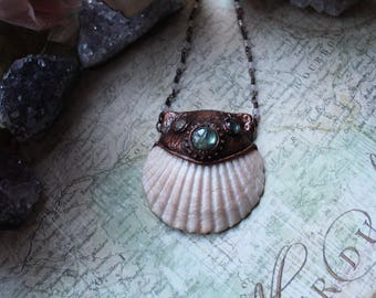 Mermaid Necklace, Mermaid Pendant, Pokymer Clay Pendant, Talisman Necklace, Pirates of Caribbean, Labradorite Necklace, Shell Necklace