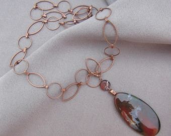 Jasper and Copper Necklace/ Gift for Her
