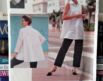1991 Vogue Attitudes-Jennifer George Designer-Pattern # 2686-Shirt (Very Loose-Fitting/Flared)-Tapered Pants-Size 6-8-10-UNCUT