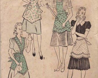 Vintage 1930s Advance Apron Pattern Size Small 32-34