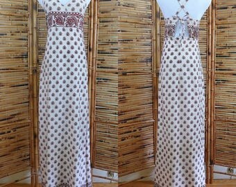 Vintage 1990s Block Print Indian Cotton Maxi Dress with Spaghetti Straps - Small