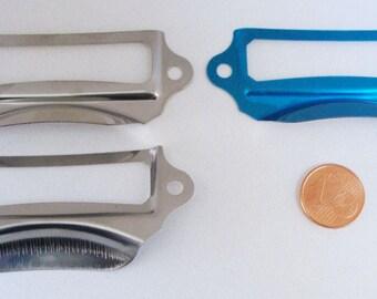 5 POIGNEES PORTE-ETIQUETTES 69x28mm métal argenté MOD1 cartonnage loisirs rangement