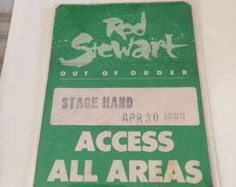 1989 Rod Stewart Out of Control Concert All Area Access Stagehand Pass.