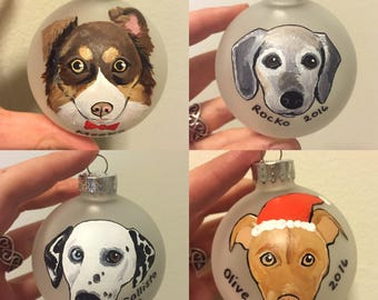 "Custom Dog Ornament (2.75"") - Hand Painted Christmas Ornament"