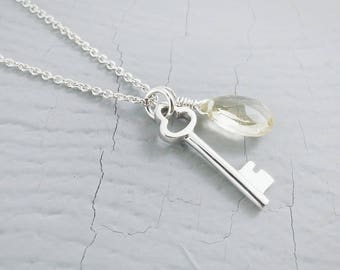 Key And Crystal Necklace, Key and Lemon Quartz Charm Necklace, Sterling Silver Key Necklace, Sterling Silver Charm Necklace, Lemon Quartz