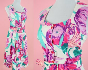 90s Cotton Floral Day Dress // Vintage 1990s, Midi Length, Belt, Pink, Purple Flowers, Women Size Medium Large