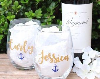Personalized Wine Glasses | Stemless | Bridal Party Wine Glasses | Girls Weekend | Anchor Wine Glass | Nautical Bachelorette | Nauti Bride