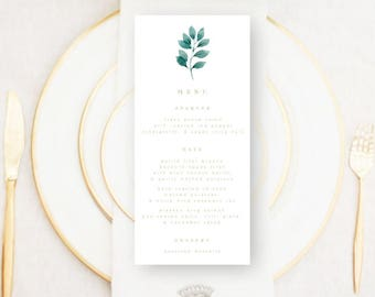 Personalised Printable Wedding Menu Card, Elisa Collection